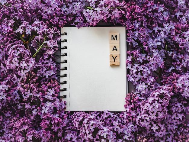 Skizzenbuch, leere seite und helle lila blumen