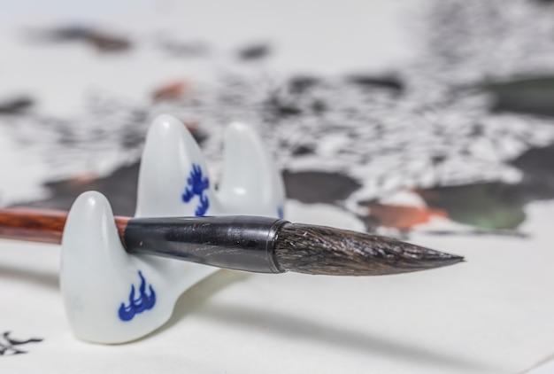 Skizzieren pinsel papier handschrift stifthalter wort