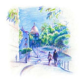 Skizzieren sie montmartre in paris, frankreich mit buntstiften