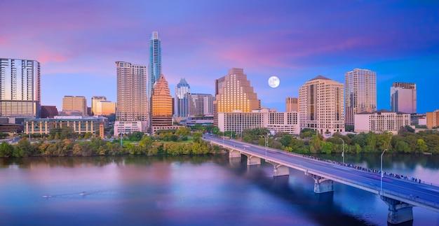 Skyline der innenstadt von austin, texas in den usa