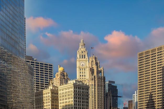 Skyline der innenstadt von chicago in den vereinigten staaten von amerika
