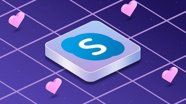 Skype-logo-symbol mit herzen um 3d