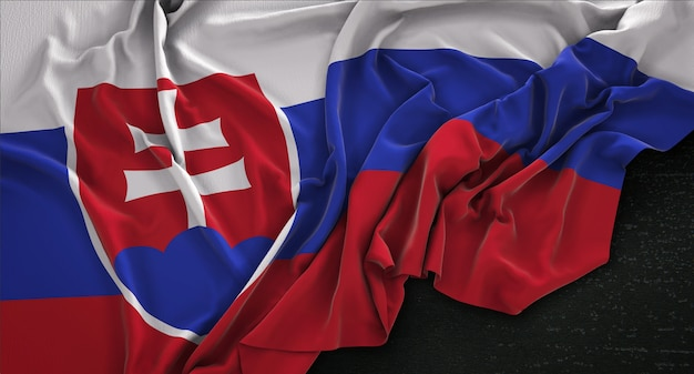Slowakei fahne geknittert auf dunklem hintergrund 3d render