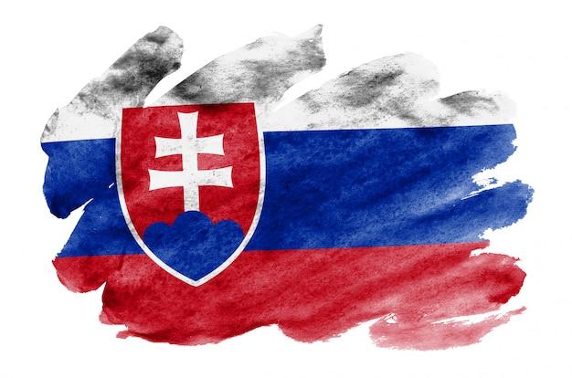 Slowakei-flagge wird in der flüssigen aquarellart dargestellt, die auf weiß lokalisiert wird