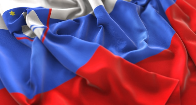Slowenien flagge gekräuselt winken makro nahaufnahme schuss