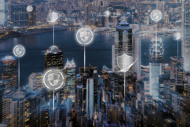 Smart city security hintergrund digitale transformation digital remix