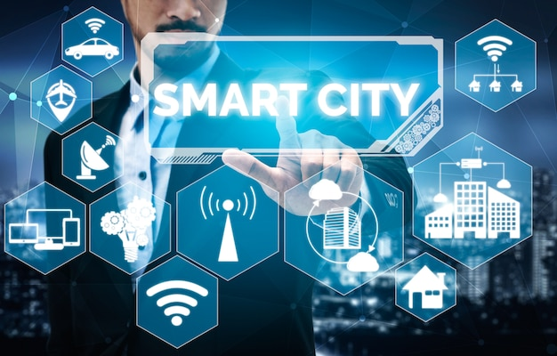 Smart city- und internet-technologiekonzept.