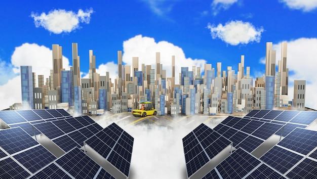 Smart city und nachhaltige entwicklung der solarenergie. alternative stromquelle, 3d-darstellung