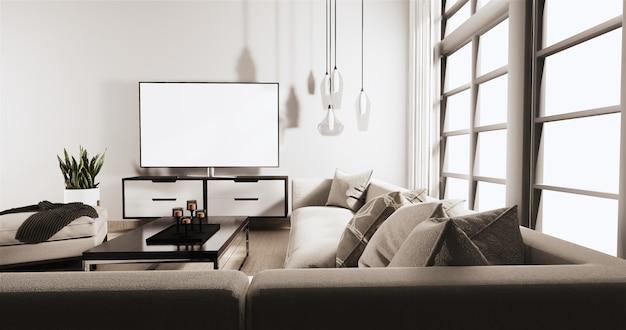 Smart fernsehen auf kabinett im wohnzimmer mit weißer backsteinmauer auf bretterboden und sofa