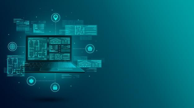 Smart home web-entwicklung und design von blaupausen auf laptop