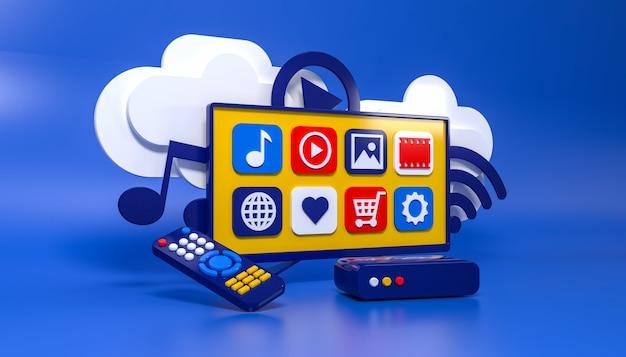 Smart tv 3d-konzept tv-box led-menübildschirm fernbedienung überträgt informationen über die cloud