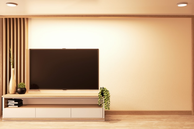Smart tv an der wand und schrank aus holz im japanischen stil im raum minimal.3d rednering