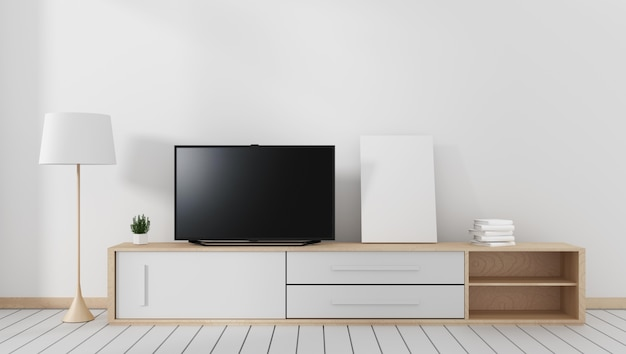 Smart tv auf dem carbinet, modernes wohnzimmer mit weißem holzfußboden. 3d-rendering