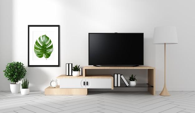 Smart tv auf dem schrank ruhm und dekor, moderne wohnzimmer zen-stil. 3d-rendering