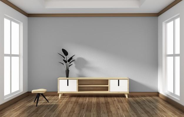 Smart-tv im leeren stilraumdesign. 3d-rednering