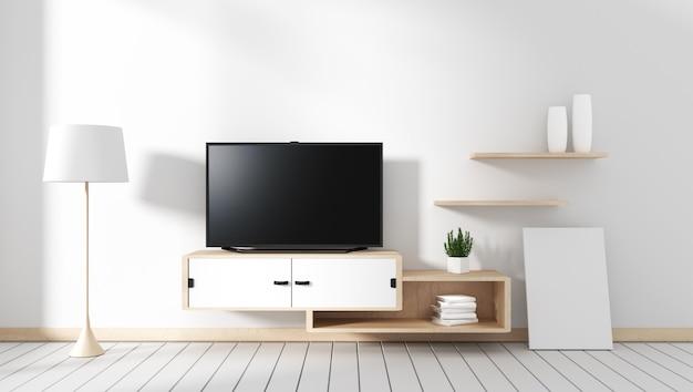 Smart tv - leerer schwarzer bildschirm, der am schrank hängt, raum mit weißem holzfußboden.