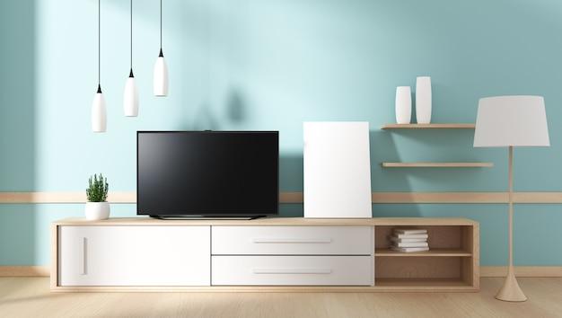 Smart-tv mit leerem schwarzem bildschirm, der am schrank hängt, modernes tadelloses wohnzimmer. 3d rende
