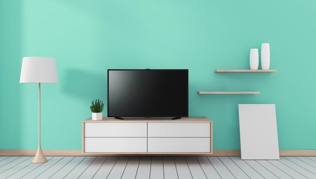 Smart tv mit leerem schwarzem bildschirm, der am schrank hängt