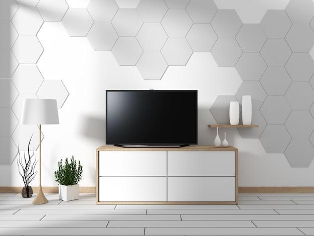 Smart tv mock up auf dem schrankdekor, moderner wohnzimmer-zen-stil. 3d-rendering
