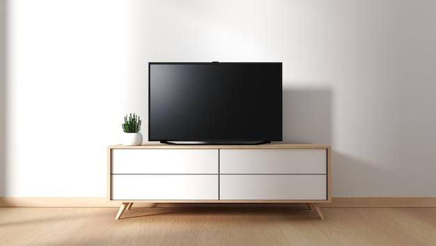 Smart tv mockup mit leerem schwarzem bildschirm, der am kabinendekor hängt. 3d-rendering