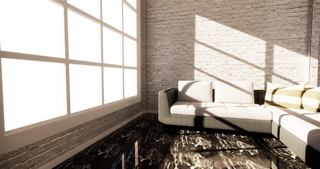 Smart tv mockup mit leerem schwarzem bildschirm hängt am kabinendekor, moderner wohnzimmer-zen-stil. 3d-rendering