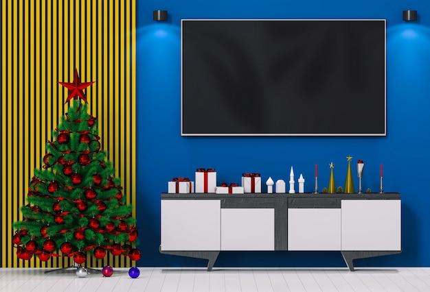 Smart-tv nachbauen. weihnachtsinnenwohnzimmer. 3d-rendering