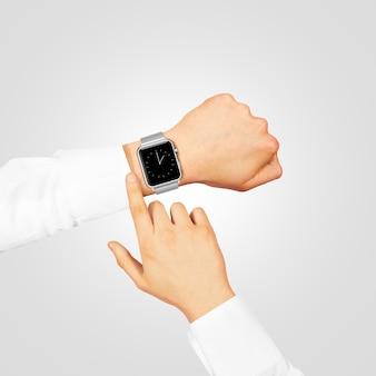 Smart watch timer bildschirm modell tragen verschleiß an der hand auf grau