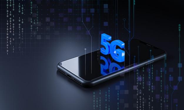 Smartphone 5g icon hologramm. technologiekonzept 3d-rendering