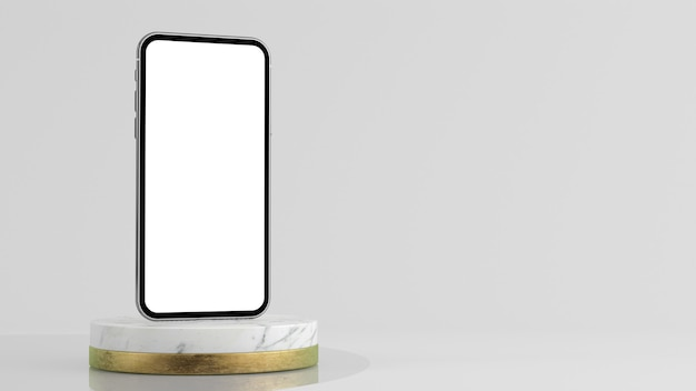 Smartphone auf plattform modell 3d-rendering