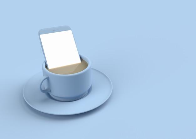 Smartphone in der kaffeemilch in der blauen pastellfarbe mit kopienraum für ihren text. minimales konzept 3d übertragen