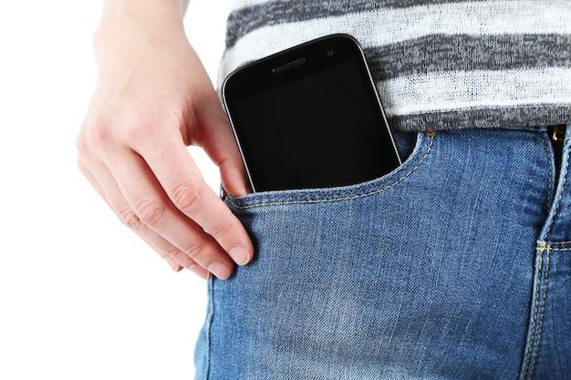 Smartphone in pocket jeans nahaufnahme