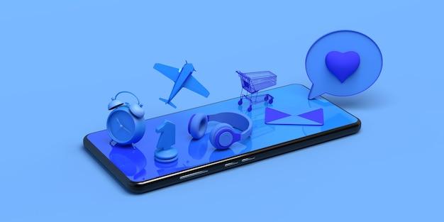 Smartphone-konzept mit schwimmenden objekten kopfhörer einkaufswagen spiele e-mail 3d-darstellung