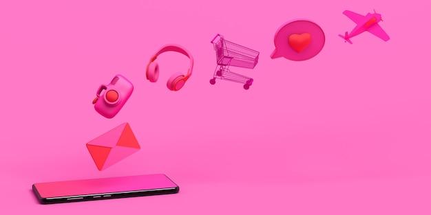 Smartphone-konzept mit schwimmenden objekten kopfhörer spiele wecker e-mail 3d-darstellung