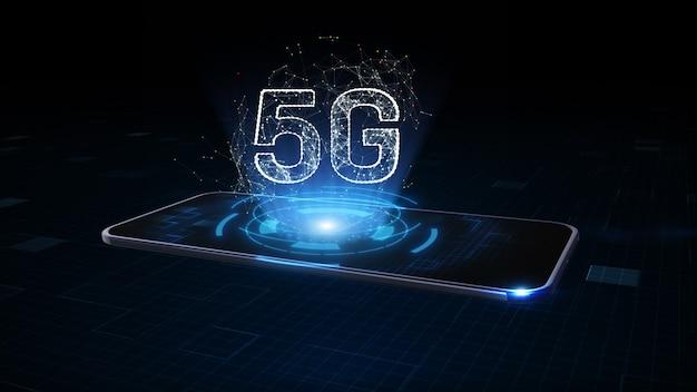 Smartphone mit 5g-symbolhologramm, netzwerk weltweit verbindung