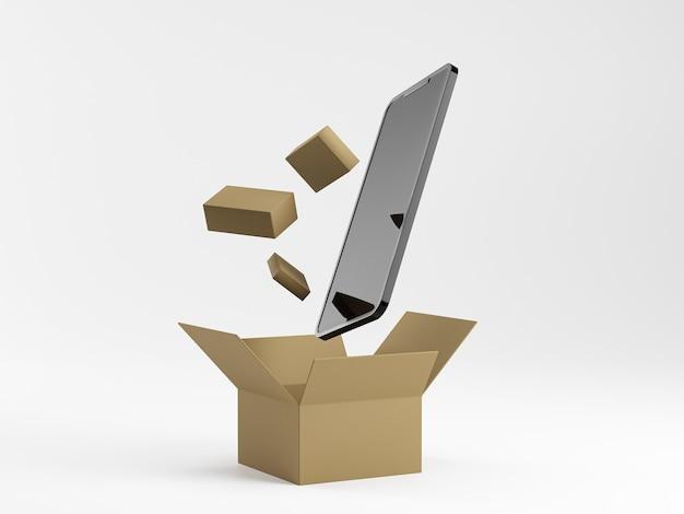 Smartphone mit box und kleinen lieferpaketen auf blauem hintergrund. m-commerce-konzept. online