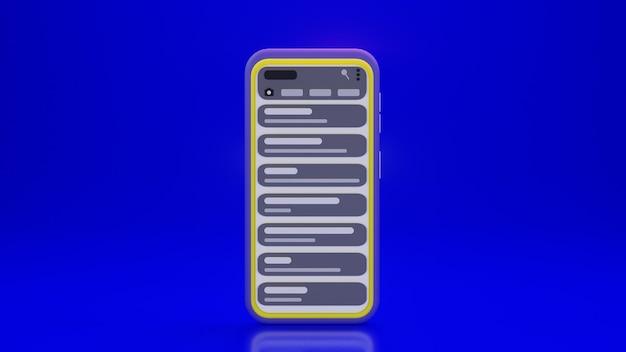 Smartphone mit chat-anwendung und blauem hintergrund im 3d-design