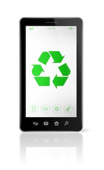Smartphone mit einem recycling-symbol auf dem bildschirm. ökologisches konzept