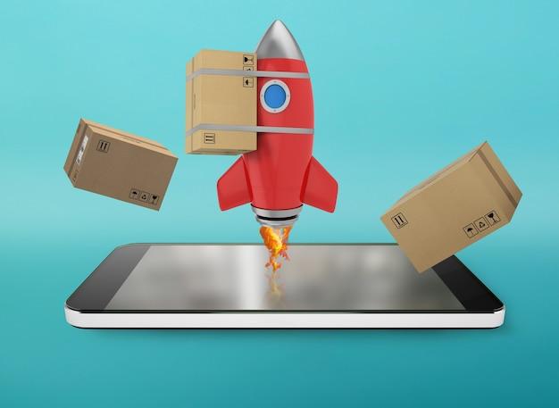 Smartphone mit einer rakete, die vom bildschirm austritt. konzept der schnellen internetzustellung