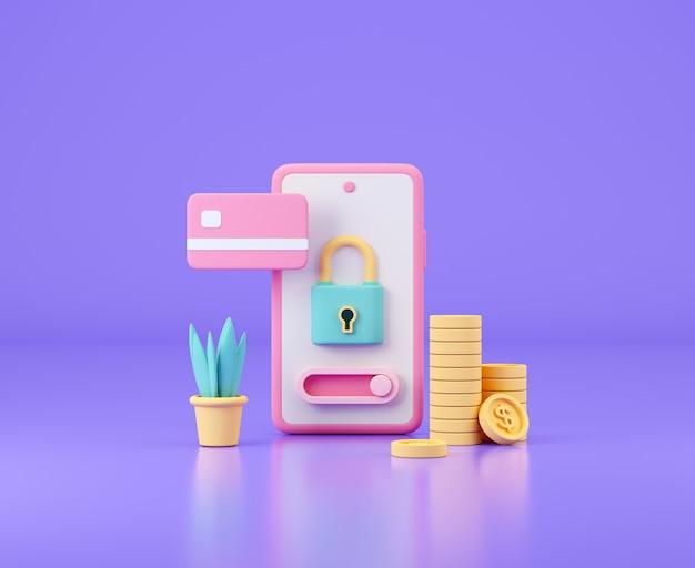 Smartphone mit kreditkarte und bargeld geldtransaktionen online-banking und sichere zahlungen c