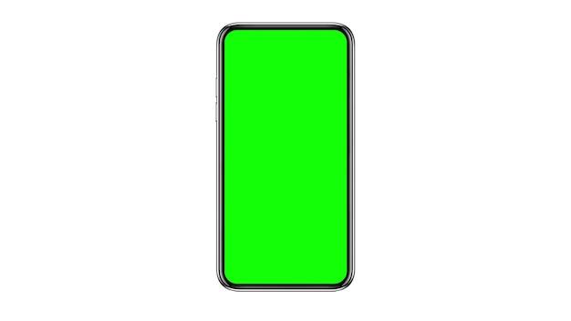 Smartphone mit leerem grünem bildschirm, vorderansicht, isoliert auf weißem hintergrund. 3d-rendering.