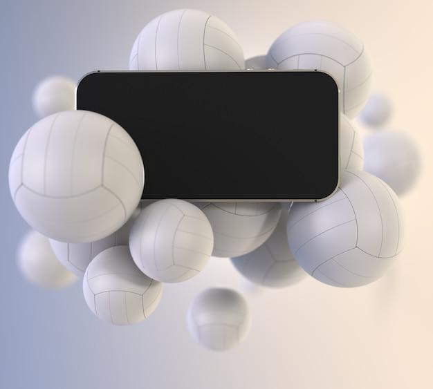 Smartphone mit schwarzem leerem bildschirm mit volleyball