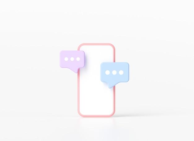 Smartphone mit schwebenden chatblasen