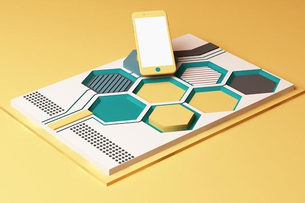 Smartphone mit technologiekonzept, abstrakte zusammensetzung von plattformen mit geometrischen formen in gelber und grüner farbe. 3d-rendering
