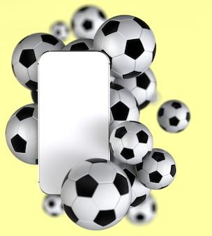 Smartphone mit weißem leerem bildschirm mit fußbällen