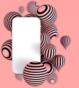 Smartphone mit weißem leerem bildschirm mit gestreiften kugeln