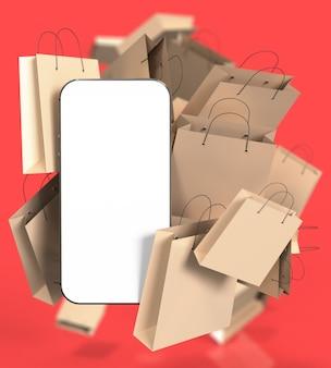Smartphone mit weißem leerem bildschirm und vielen einkaufstüten aus papier