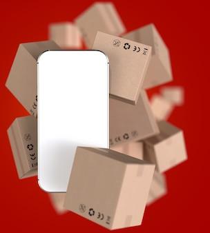 Smartphone mit weißem leerem bildschirm und vielen papierboxen