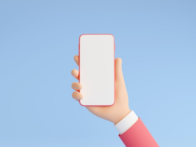 Smartphone-modell in der menschlichen hand 3d-render-illustration auf blauem hintergrund. hand in rosa business-anzug mit handy mit leerem weißem touchscreen - gadget-mockup-pastell-banner.