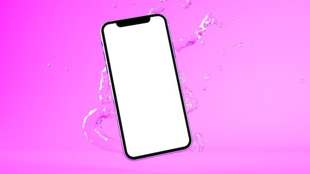 Smartphone-modell mit 3d-rendering von wasserspritzern