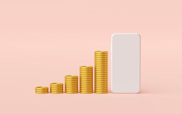 Smartphone-modell mit stapel goldener münze